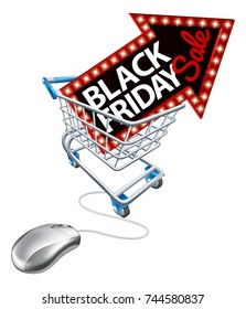A Black Friday sale sign in a supermarket shopping cart trolley with a computer mouse attached. Concept for online offers promotion.