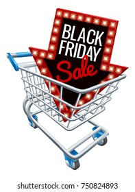A Black Friday sale sign in a supermarket shopping cart trolley