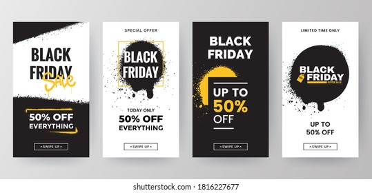 Black Friday sale social media stories template collection. Sale banners design in grunge style. Backgrounds for mobile app screen with graffiti paint splashes. Vector Eps 10.