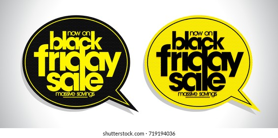 Black friday sale speech bubbles set, discount signs