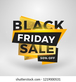 Black Friday sale sticker. Discount banner. Special offer sale tag. Golden and black color theme with light effects. Vector illustration.