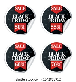 Black Friday Sale stickers with ribbon 50,55,60,70 percent off.Vector illustration