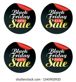 Black Friday sale stickers set with bubble 50, 55, 60, 70 percen off.Vector illustration