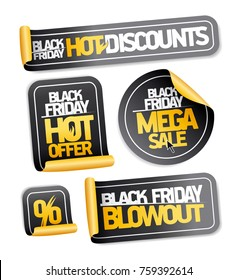 Black friday sale stickers set - hot discounts, mega sale, hot offer, blowout