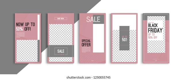 Black friday sale stories template vector design.