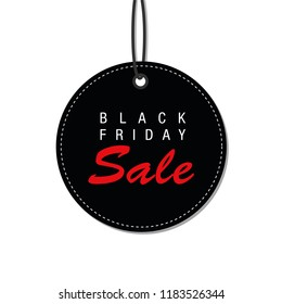 Black Friday sale black tag advertising round banner vector illustration