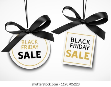 Black friday sale tag with black bow for your design. Vector set of discount labels