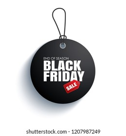 Black friday sale tag circle banner on the rope