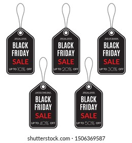 Black Friday Sale tag. Discount label. 10,20,30,40,50 percent price off. Vector illustration.