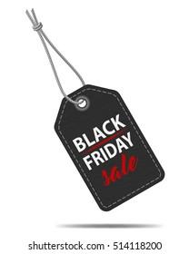 Black Friday sale tag, black paper label, vector illustration