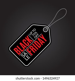 Black Friday Sale tag. Price off, discount banner. Vector illustration.