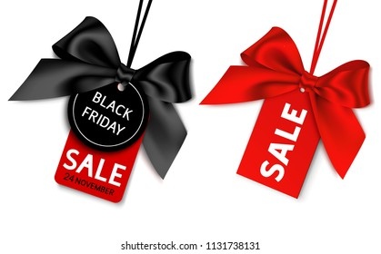 Black friday sale tag with black and red bow for your design. Vector set of discount labels