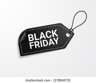 Black friday sale tag. Vector illustration