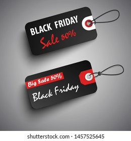 Black friday sale tags in red black design