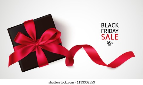 Black friday Sale template design. Vector background with black gift and red bow and long ribbon