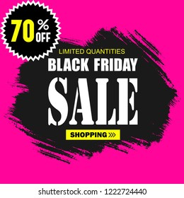 Black Friday Sale template logos and cards for design.  Trendy flat style with hand-lettering words for posters, newsletter, ads, coupons, banners. Retro style elements. Vector illustration
