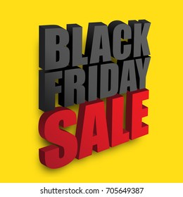 Black Friday Sale text on yellow background. Vector illustration. Black Friday Sale promotion template.