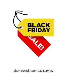 Black Friday Sale Two Tag Yellow and Red Vector
