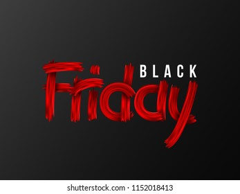 Black Friday sale typographic design. Hand drawn stylized lettering. Black background. Vector illustration.