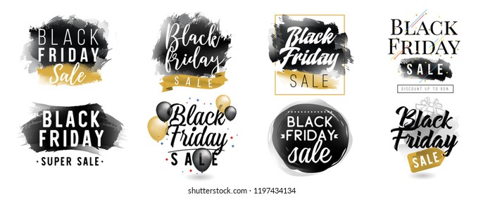 Black friday sale. Typography elements set. Vector design with balloons, ribbons and brush strokes.