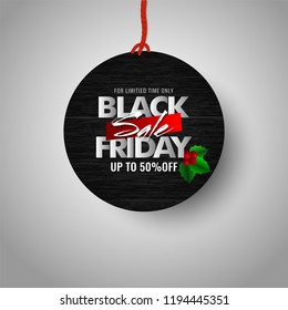Black Friday Sale with upto 50% off offer on hanging sale sticker for Advertising concept.