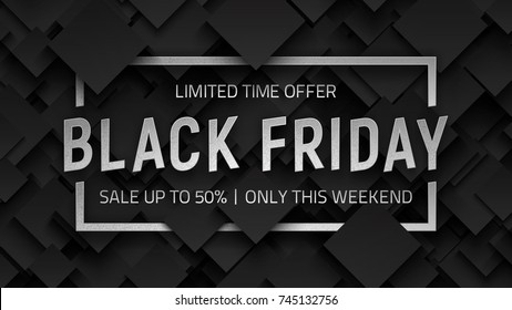 Black Friday Sale Vector Background Design Template. Silver Metal 3D Text Lettering and Frame on Dark Gray Abstract Backdrop. End of November Weekend Illustration