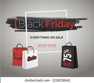 Black Friday sale vector banner with discounts for web or advertisement.  Watercolor in frame with red and white bags on concrete floor poster