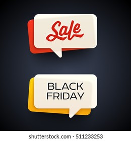 Black Friday Sale vector banner set. Nice plastic cards in material design style. Vivid transparent yellow, white and red paper. Origami paper pieces.