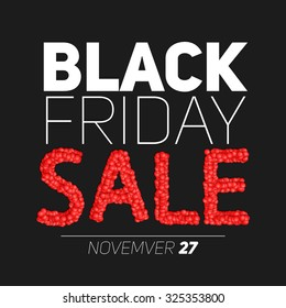 Black Friday Sale vector illustration. Sale constructed of abstract red spheres. Conceptual advertising design on dark background.