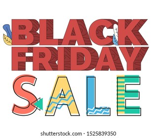 Black friday sale vector, offer for shoppers. Fonts with foliage for shopping season in autumn. Fall discounts and proposals, promotional banner in line flat style. Clearance and promotion from stores
