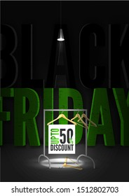 Black friday sale vector poster template. Illuminated 3d black friday inscription under spotlight in darkness. Hangers on rack with 50 percent clothes discount offer banner design layout