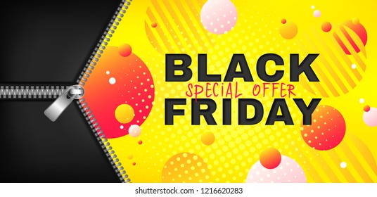 Black friday sale vector promotion web banner with open metal zipper on abstract yellow background. Fall season, flyer template for autumn seasonal discounts, special offer, advertising poster