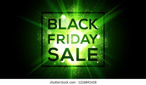 Black Friday sale vector wide banner on green flash background.