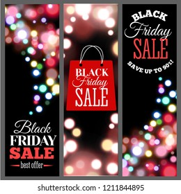 Black Friday Sale Vertical Banners. Bokeh lights, flare lights. Typography design, badge. Vector illustration.