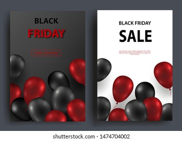 Black friday sale vertical banners. Flying glossy balloons on a dark and white background. Vector illustration.