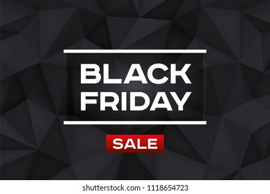 Black Friday Sale. Volume geometric shape, 3d black crystals. Low polygons dark background. Red accent. Vector design polygonal form for you business projects