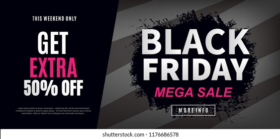 Black Friday Sale Web Banner Design Template. Advertising poster. Modern Vector illustration.