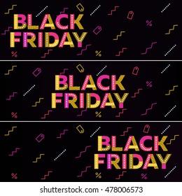 Black friday sale. Black web banner. Poster Sale. The original inscription. Advertising. Vector illustration