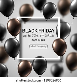 Black friday sale white promo poster with color balloons and white square frame. Special offer up to 70% off, start shopping. Vector background.