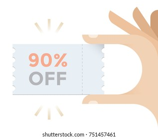 Black friday sales coupon in businessman hand with text 90% OFF. Concept - Shop sales and discounts,  shopping weekend, consumerism, retail business, liquidation etc.
