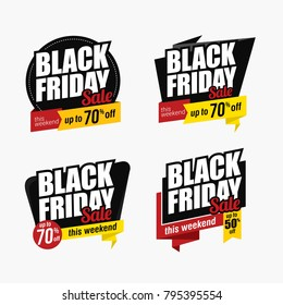 Black Friday sales and discount banner collection. Advertising labels vector design. Perfect for sales promotion and advertising in Black Friday.