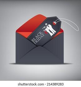 Black Friday sales invitation sales tag in envelope. Eps10 vector illustration