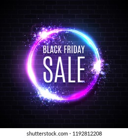 Black friday sales in neon circle background. Geometric shape glowing tag. Modern round shopping sign on dark blue purple brick background. Black friday design. Bright electric vector illustration.