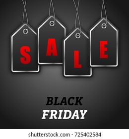 Black Friday Sales Tags. Design Sale, Discounts, Offers, Coupons - Illustration Vector