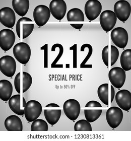 Black Friday with shiny Balloons and twelve on white square frame background as business , discount , promotion and Sale Poster concept. Vector illustration.