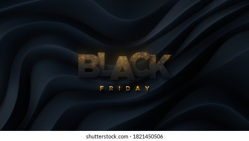 Black Friday sign. Vector 3d illustration. Sale or discount banner element design. Black glittering paper cut letters on curvy topography background