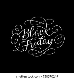 Black Friday sophisticated line lettering design. Holiday season shopping sale, clearance, offers advertising. Hand drawn typographic design for brand promotion on social media. Vector illustration