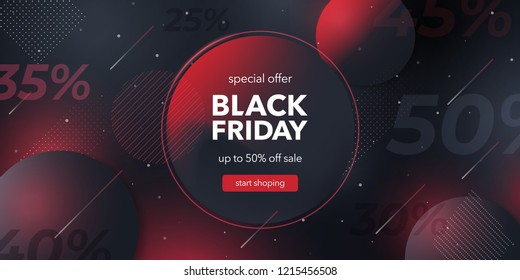 Black friday special offer. Social media web banner for shopping, sale, product promotion.  Background for website and mobile app banner, email. Vector illustration in black and red colors.