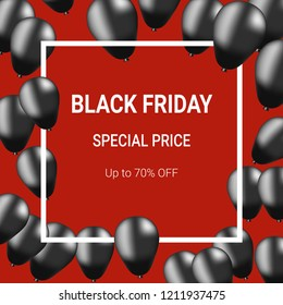 Black Friday Special Price up to 70% sale off discount poster - vector