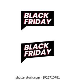 Black Friday Speech Icon Label Sticker Design Vector